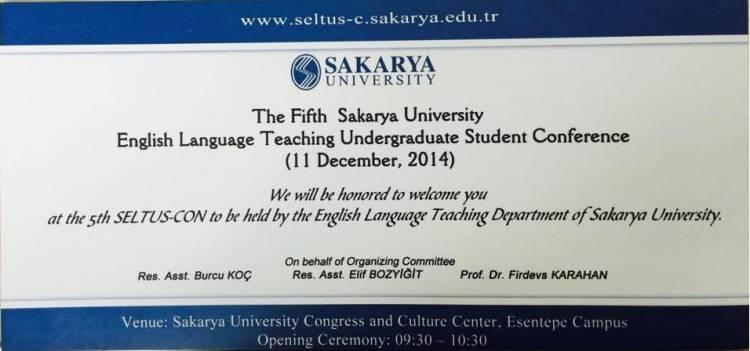 5. Sakarya Üniversitesi İngilizce Öğretmenliği Lisans Öğrenci Konferansı